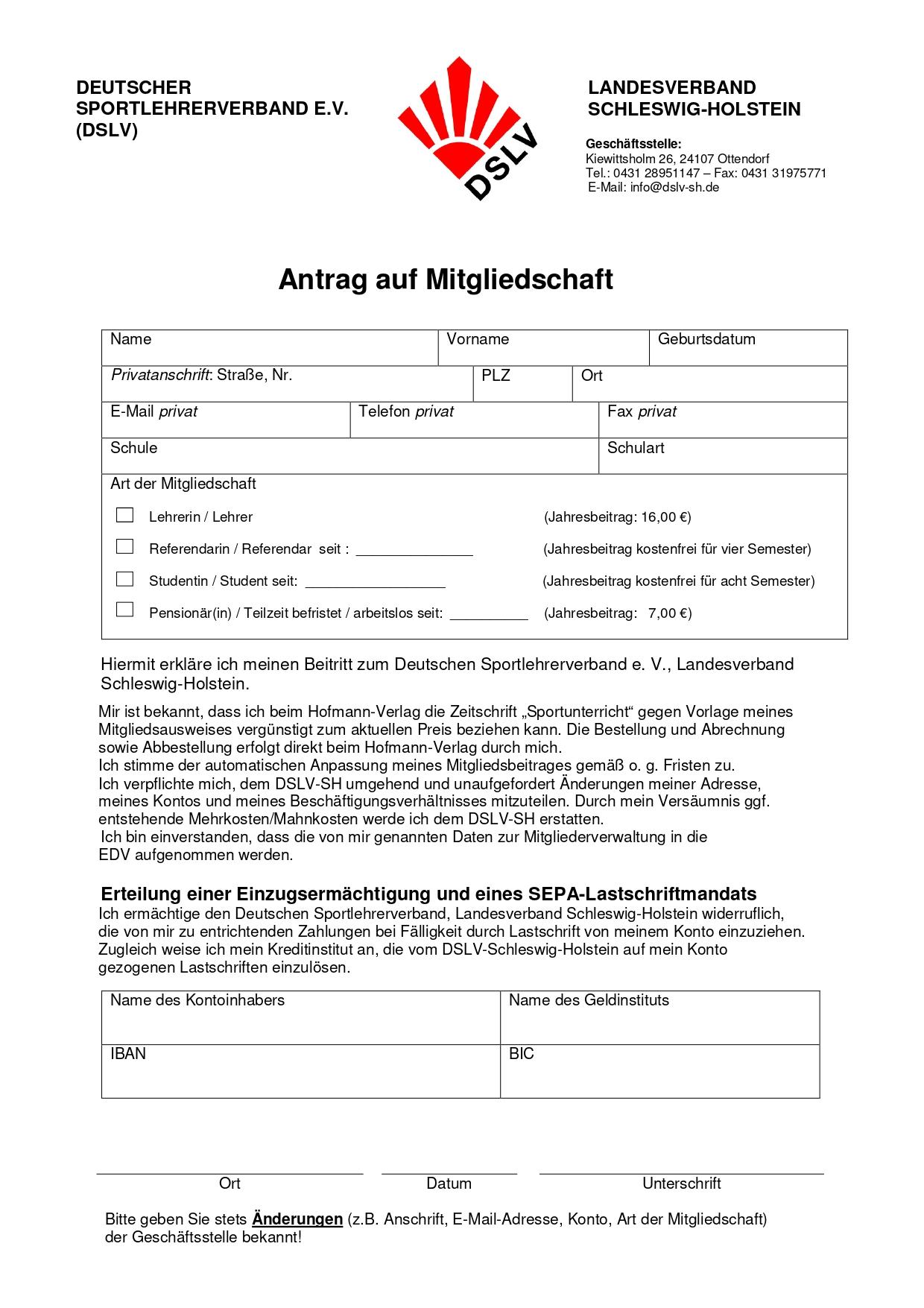 Mitgliedschaftsantrag DSLV Landesverband Hamburg