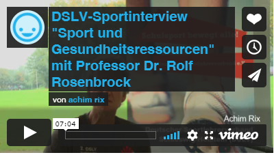 """Video: DSLV-Sportinterview """"Sport und Gesundheitsressourcen"""" mit Professor Dr. Rold Rosenbrock"""