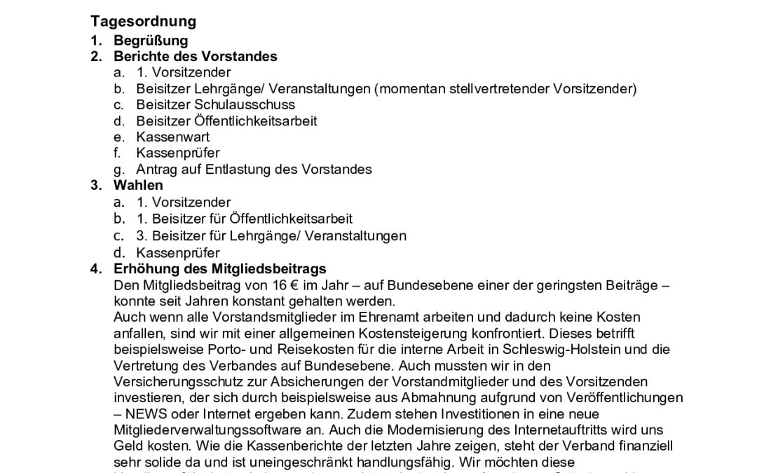 Einladung zur Mitgliederversammlung DSLV chleswig-Holstein, 22. September 2020